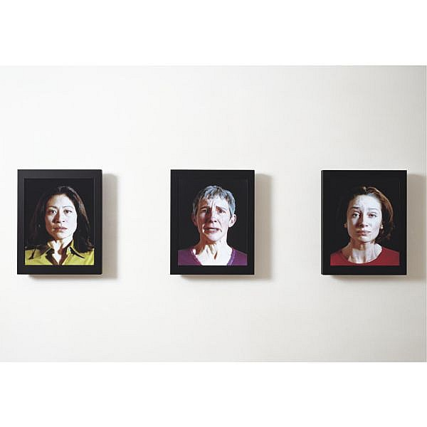 Bill Viola , b. 1951 Witness color video triptych on three LCD flat screens