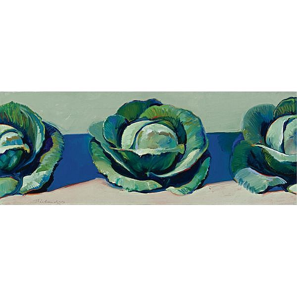 Wayne Thiebaud , b. 1920 Three Cabbages oil on canvas