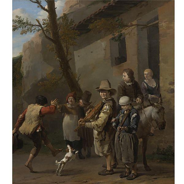Karel Dujardin , Amsterdam 1626 - 1678 Venice Travelling Musicians oil on canvas