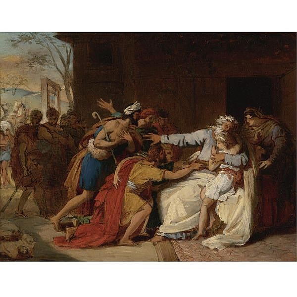Théophile Auguste Vauchelet , Paris 1802 - 1873 Jacob refusing to send Benjamin away oil on paper, laid down on canvas