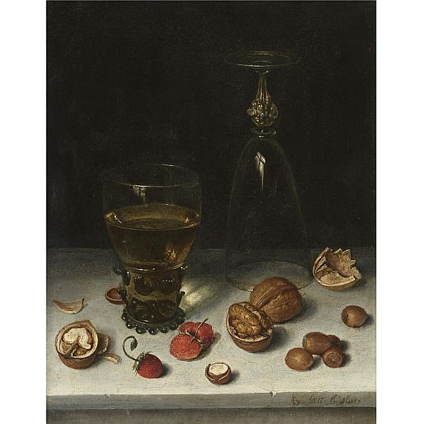 Floris van Dijck , Delft circa 1575 - 1651 Haarlem Still Life of Walnuts, Hazelnuts, Strawberries, a Roemer and an Overturned Wine Glass, all resting on a table oil on copper
