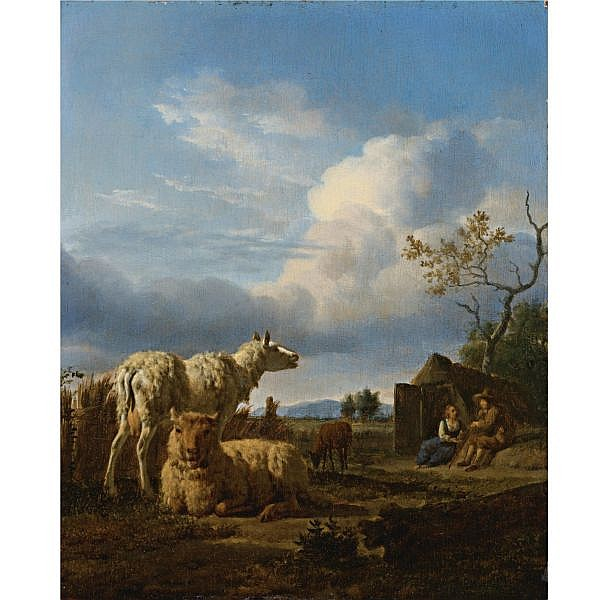 Adriaen van de Velde , Amsterdam 1636 - 1672 Pastoral Landscape with Sheep and Peasants oil on panel