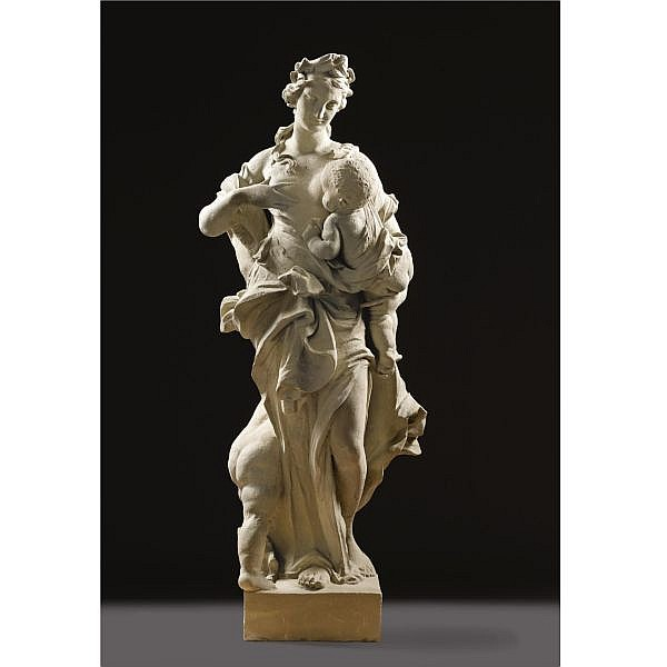 A Near-Lifesize German Sandstone Allegorical Group of Charity, by Balthasar Permoser (1651-1732) and Workshop