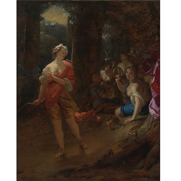 Godfried Schalcken , Made, near Breda 1643 - 1706 The Hague Diana and her Nymphs in a clearing oil on canvas