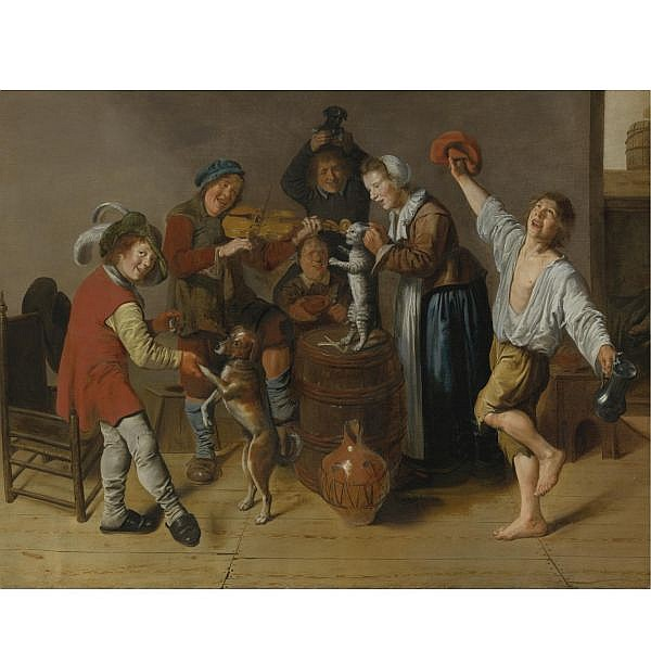 Jan Miense Molenaer , Haarlem circa 1610 - 1668 Children Playing and Merrymaking oil on canvas