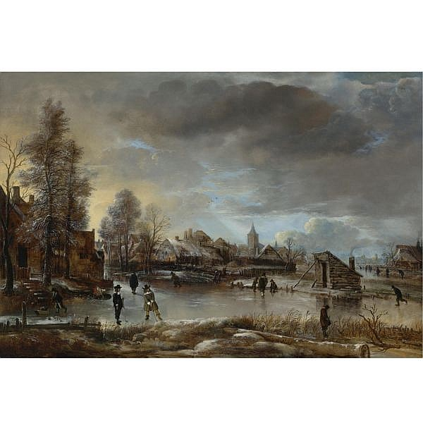 Aert van der Neer , Amsterdam circa 1603/4 - 1677 Winter Landscape with Kolf Players and Skaters on a Frozen Canal oil on panel