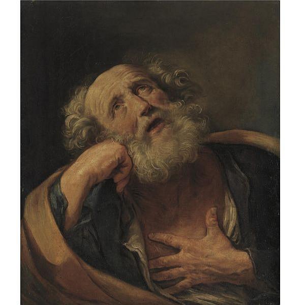 s - Guido Reni , Calvenzano di Vergato 1575 - 1642 Bologna The Penitent Saint Peter oil on canvas