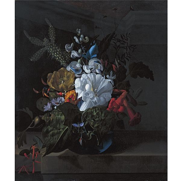 Rachel Ruysch , The Hague 1664 - 1750 Amsterdam A Still Life with Devil's Trumpet, a Cactus, a Fig Branch, Honeysuckle and Other Flowers in a Blue Glass Vase Resting on a Ledge oil on canvas