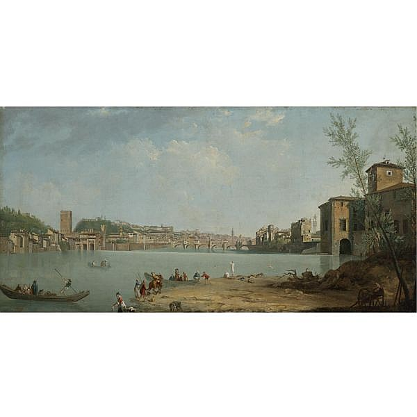 Thomas Patch , Exeter 1725 - 1782 Florence A View of the River Arno with the Ponte alle Grazie, Florence oil on canvas