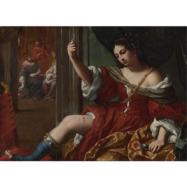 u - Elisabetta Sirani , Bologna 1638 - 1665 Portia Wounding her Thigh oil on canvas