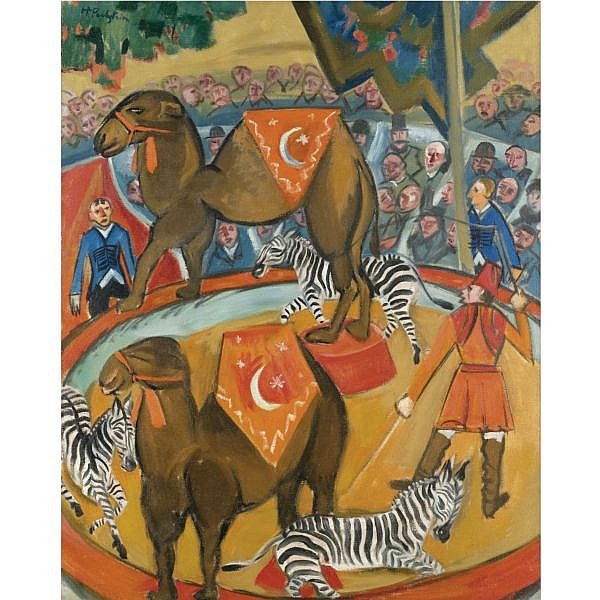 f - Hermann Max Pechstein , 1881-1955 ZIRKUS MIT DROMEDAREN (CIRCUS WITH DROMEDARIES) oil on canvas