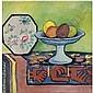 August Macke , 1887-1914 STILLEBEN MIT ÄPFELSCHALE UND JAPANISCHEM FÄCHER (STILL-LIFE WITH BOWL OF APPLES AND JAPANESE FAN) oil on canvas, August Macke, Click for value