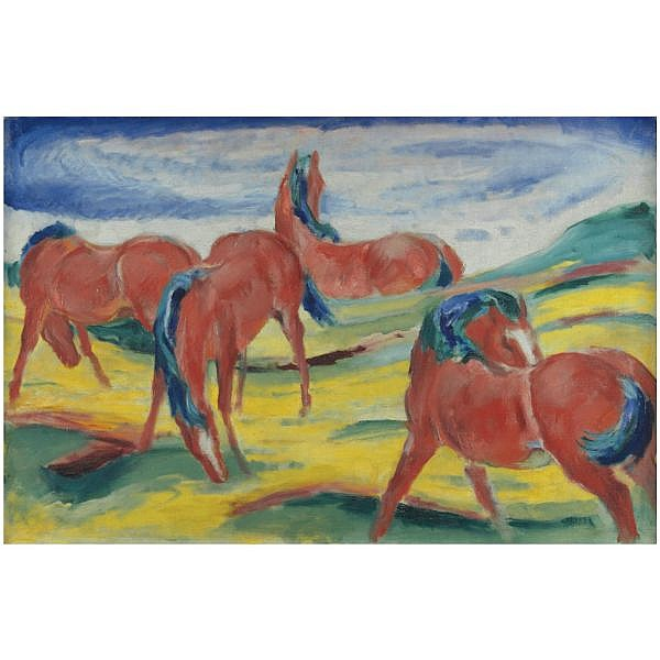 Franz Marc , 1880-1916 WEIDENDE PFERDE III (GRAZING HORSES III) oil on canvas