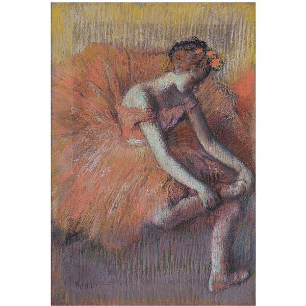 f - Edgar Degas , 1834-1917 DANSEUSE RAJUSTANT SA SANDALE pastel on paper