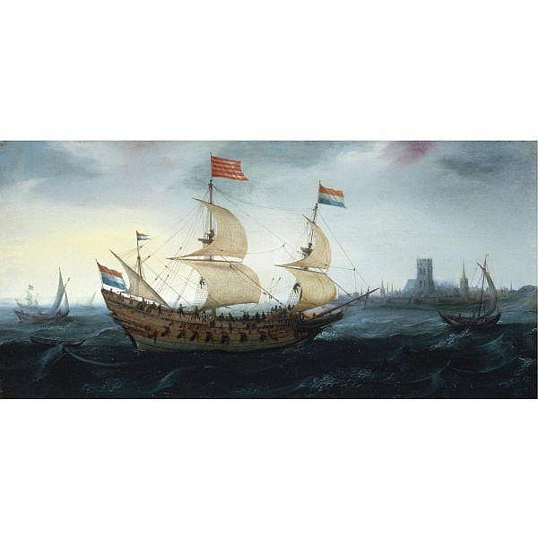 Hendrick Cornelisz. Vroom , Haarlem circa 1563 - 1640 A Dutch two-master in a stiff breeze before a Dutch coastal town, possibly Den Briel oil on panel