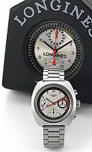 LONGINES | A SET OF TWO CHRONOGRAPH WATCHES<br />THE FIRST: A NEW OLD STOCK STAINLESS STEEL CUSHION-SHAPED CHRONOGRAPH WRISTWATCH <br />MVT CASE 15762203 REF 8271 CHRONOGRAPH NONUIS CIRCA 1971<br />THE SECOND: A FINE AND RARE STAINLESS STEEL