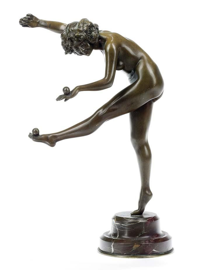 JUGGLER, A BRONZE FIGURE MODELLED BY CL. J. R. COLINET 1920'S