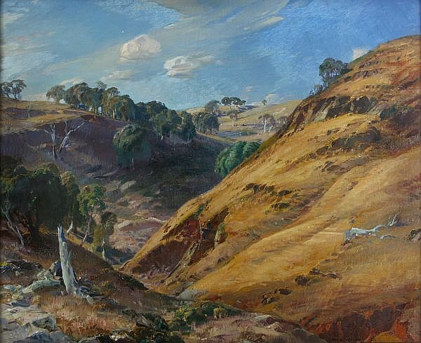 HANS HEYSEN , Australian 1877-1968 THE HILLSIDE, GLEN OSMOND Oil on canvas