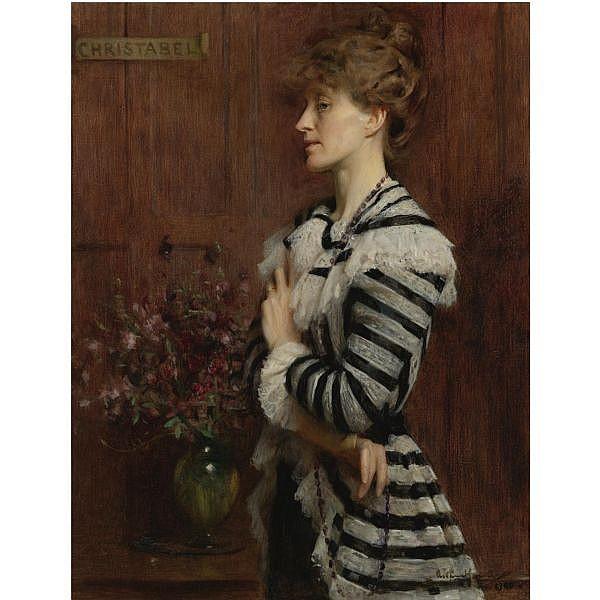 f - Arthur Hacker, R.A. 1858-1919 , portrait of christabel cockerell, lady frampton oil on canvas