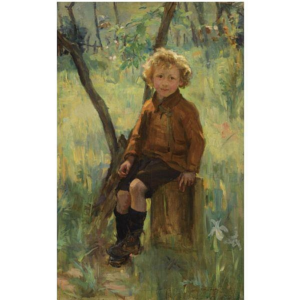 - William Findlay , 1875-1960 childhood's happy days oil on canvas