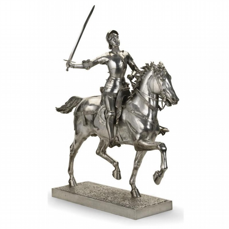 FERDINAND BARBEDIENNE, AFTER THE MODEL BY PAUL DUBOIS A FRENCH SILVER EQUESTRIAN STATUE OF JOAN OF ARC, PARIS, CIRCA 1900