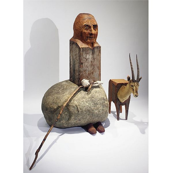Marisol Escobar , Portrait of Georgia O'Keeffe with Antelope charcoal on wood, stone, plaster and antelope