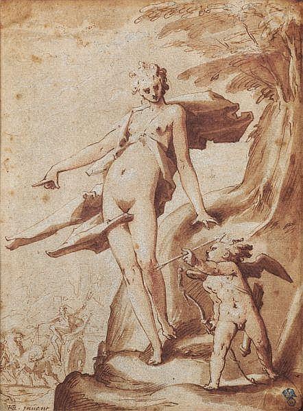 Hendrick Goltzius , Mülbracht (Bracht-am-Niederrhein) 1558 - 1617 Haarlem Vénus ordonnant à l'Amour de percer de ses flèches le coeur de Pluton Plume et encre brune, lavis brun, traces de sanguine et rehauts de craie blanche; partiellement incisé