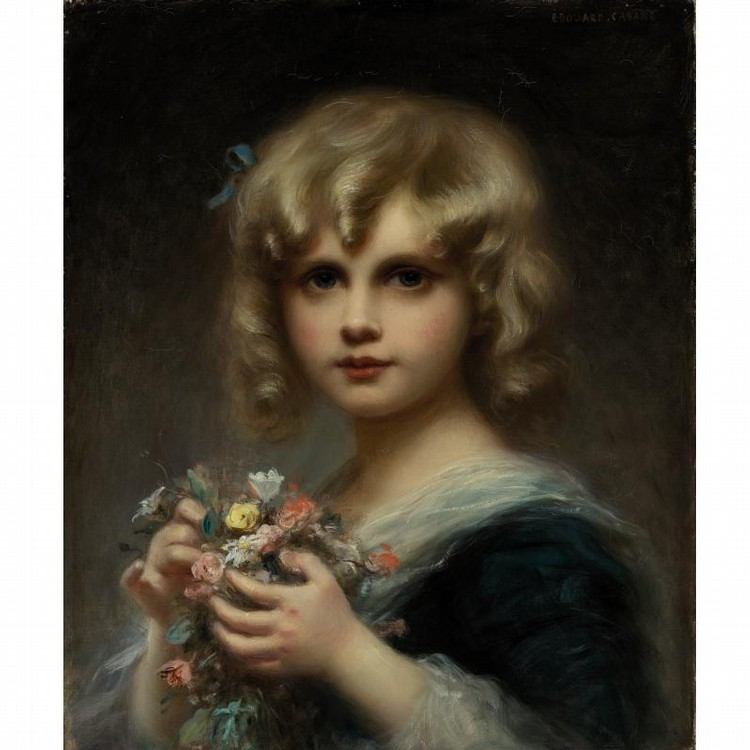 ÉDOUARD CABANE FRENCH, B. 1857 GIRL WITH FLOWERS
