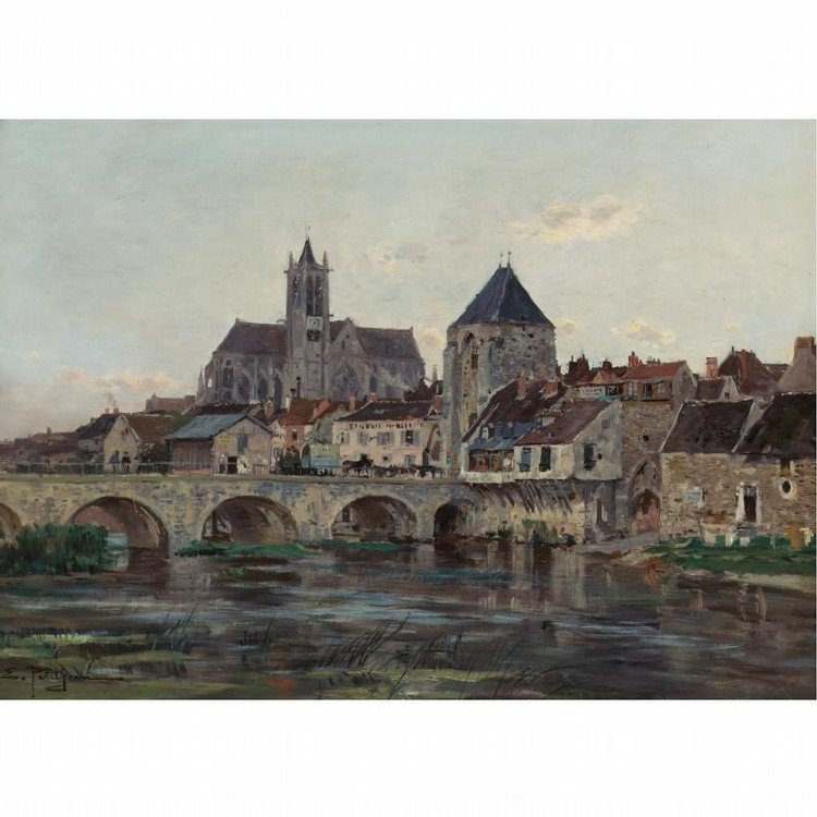 EDMOND-MARIE PETITJEAN FRENCH, 1844-1925 VIEW OF MORET-SUR-LOING
