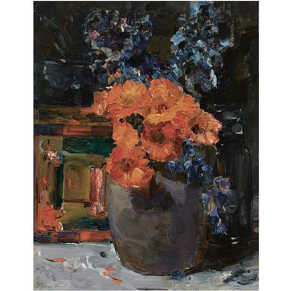 Floris Hendrik Verster , Dutch 1861 - 1927 A still life with marigold and delphinium in a bowl oil on canvas