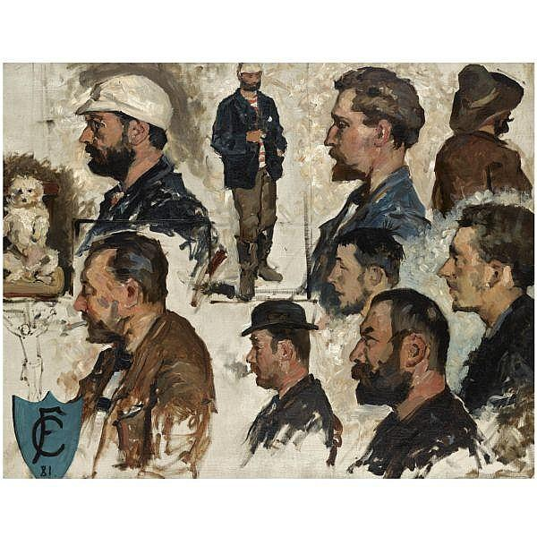 Fernand Cormon , French 1845 - 1924 study of male heads oil on canvas