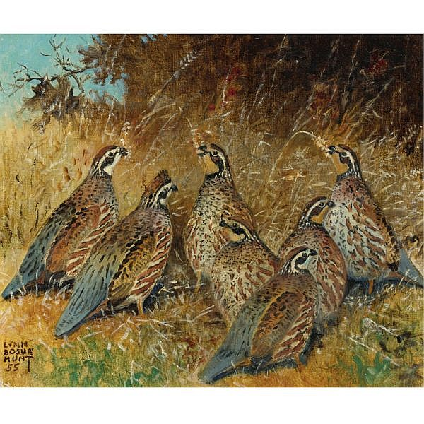 Lynn Bogue Hunt , American 1878-1960 The Gleaners-Quail (two works) oil on canvas