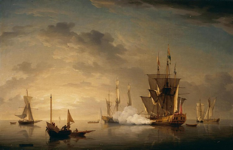 CHARLES BROOKING 1723-1759 A ROYAL YACHT FIRING A SALUTE