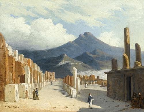 ADRIEN DAUZATS (BORDEAUX 1804 - PARIS 1868) VUE DE POMPEI 31 x 39 cm Signe en bas A gauche A Dauzats Huile sur toile