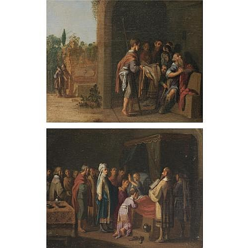 Attributed to Jan Tengnagel Amsterdam circa 1584 - 1631 , The presentation of Joseph's bloodstained coat to his father Jacob; Jacob blessing the sons of Joseph