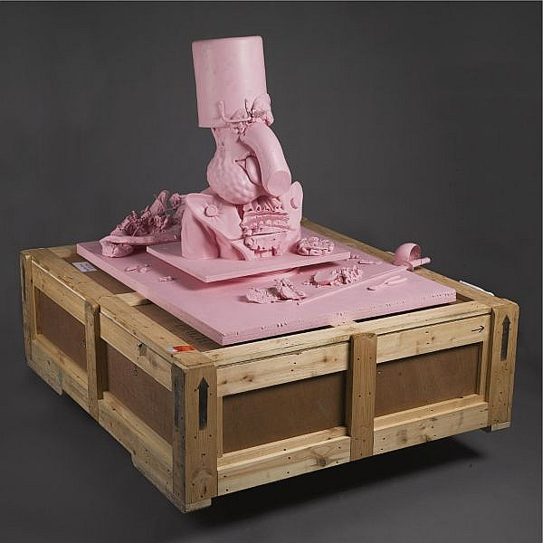 - Paul McCarthy , b. 1945 Pot Head pink silicon rubber and steel