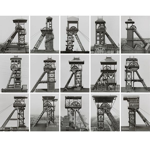 Bernd & Hilla Becher , b. 1931 & b. 1934 Winding Towers, France, Belgium, Germany gelatin silver prints, in 15 parts