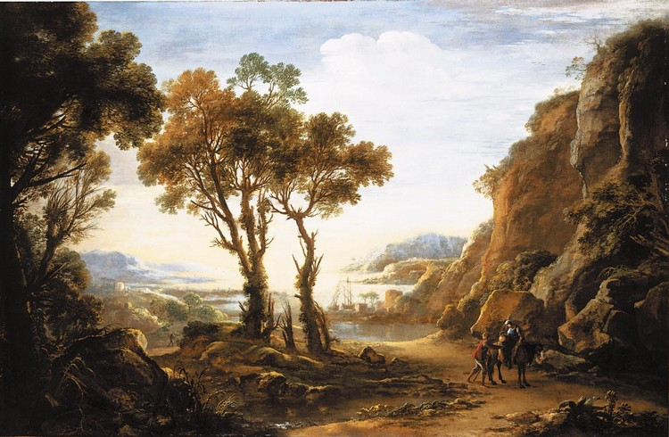 SALVATOR ROSA ARENELLA, NAPLES 1615 - 1673 ROME AN EVENING LANDSCAPE WITH TRAVELLERS IN THE