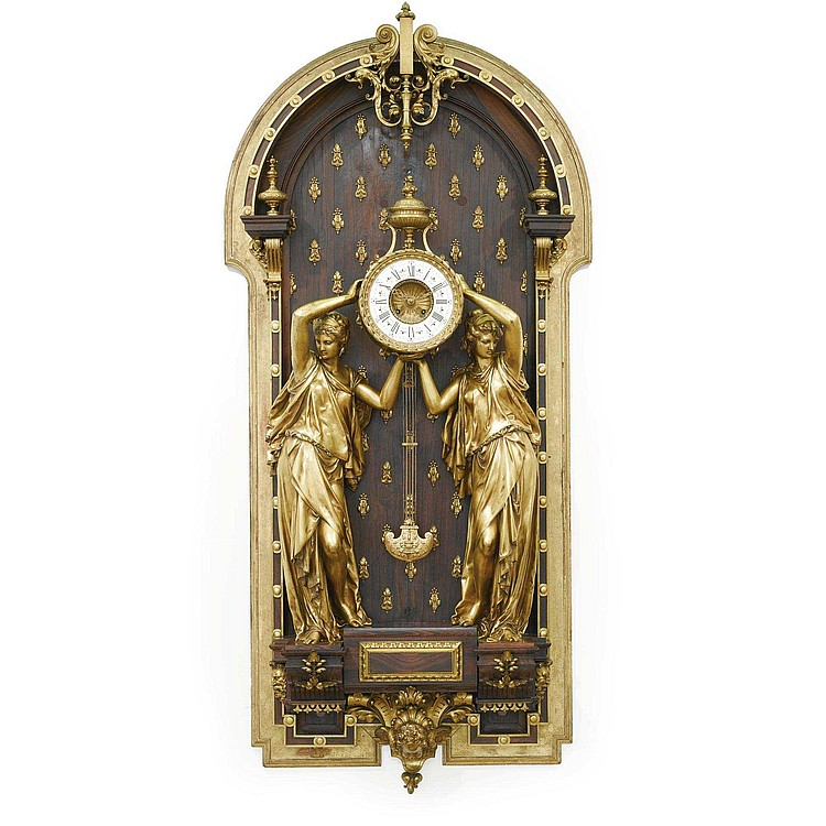 FERDINAND BARBEDIENNE 1810-1892 AN IMPRESSIVE GILT-BRONZE AND ROSEWOOD CARTEL CLOCK CIRCA 1872-75, MADE IN COLLABORATION WITH ALBERT-ERNEST CARRIER-BELLEUSE AND LOUIS-CONSTANT SÉVIN