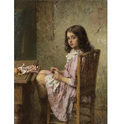 Alexei Alexeevich Harlamoff , The Little Seamstress, 1910