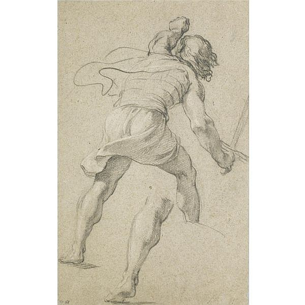 Attributed to Charles Le Brun , Paris 1619 - 1690 a standing soldier seen from behind, and a separate study of his left leg Black chalk with traces of white chalk