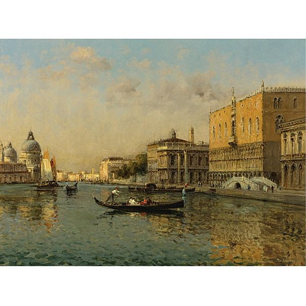 Marc Aldine , French 1870-1956 View of the Basin of San Marco oil on canvas
