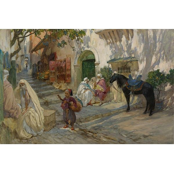 Frederick Arthur Bridgman , American 1847-1928 A Street Scene in Algeria oil on canvas