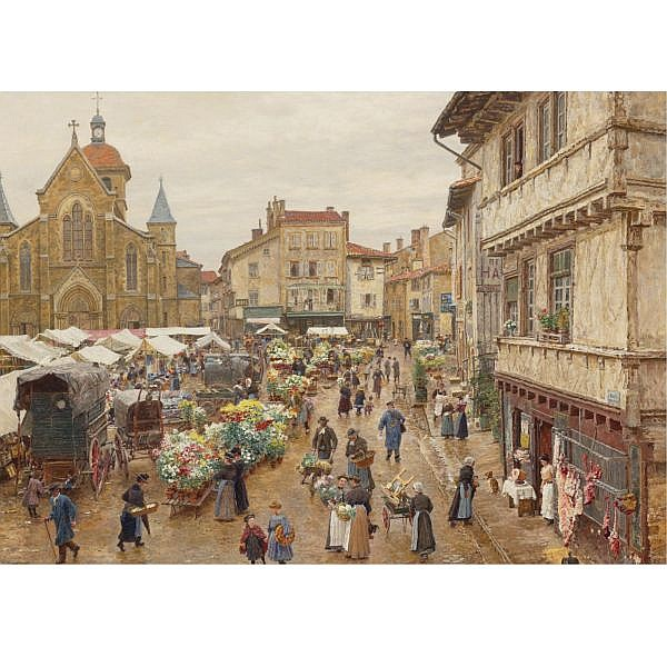 Marie-François Firmin-Girard , French 1838-1921 Le marché, Charlieu oil on canvas