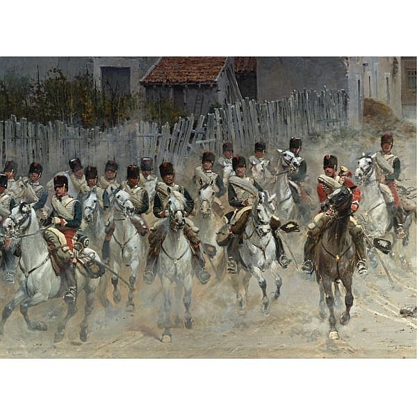 Jean-Baptiste-Édouard Detaille , French 1848-1912 Chasseurs de la garde : A Fragment of the Panorama de Rezonville oil on canvas