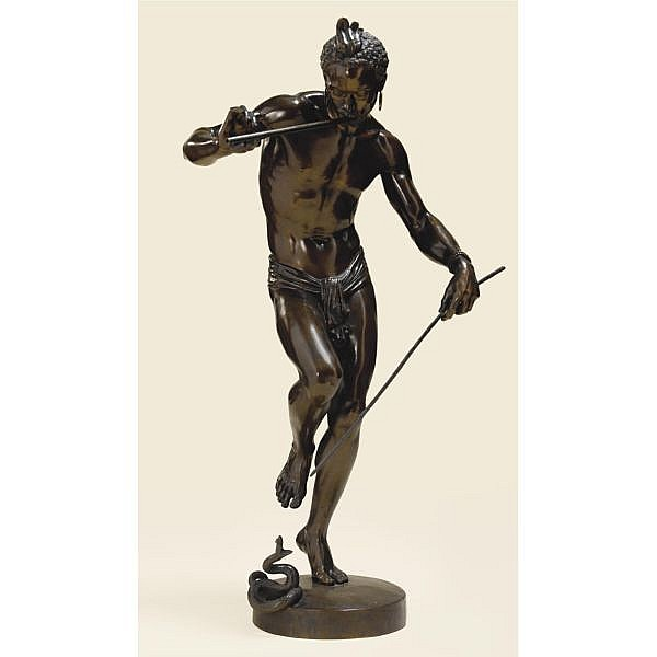 Baron Charles-Arthur Bourgeois , French 1838-1886 LE CHARMEUR DE SERPENT bronze, dark to mid-brown patina