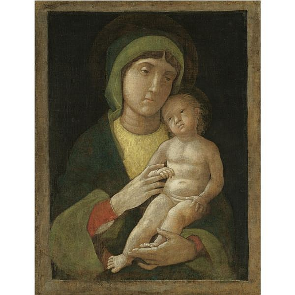 Andrea Mantegna Padua 1431 - 1506 Mantua , The Madonna and Child egg tempera on canvas, unframed