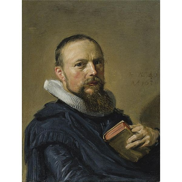 f,l - Frans Hals Antwerp 1581/5 - 1666 Haarlem , portrait of samuel ampzing, half length oil on copper