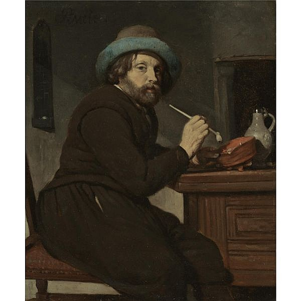 Gabriel Metsu Leiden 1629 - 1669 Amsterdam , A SMOKER SEATED AT A TABLE oil on copper In a carved and gilt-wood frame similar to Sparre frame type 4, but probably made in Paris