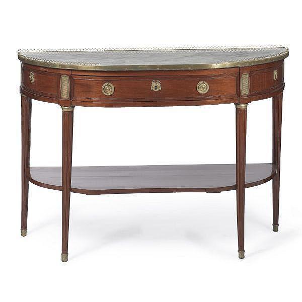 A Louis XVI ormolu-mounted mahogany console en desserte; last quarter 18th century, stamped E. Avril, JME